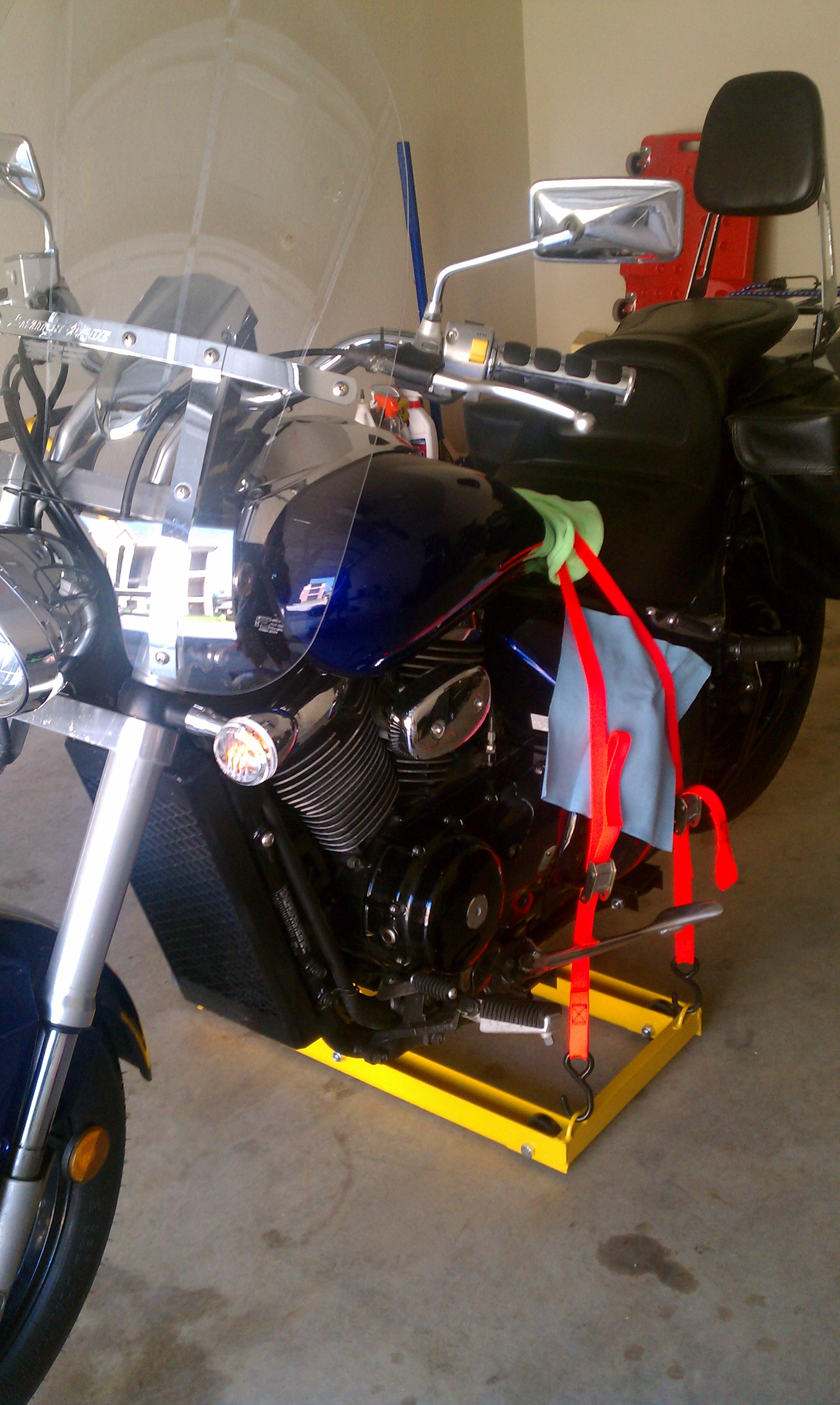 Replacing Fork Seals 2005 Boulevard M50-strapped-down.jpg