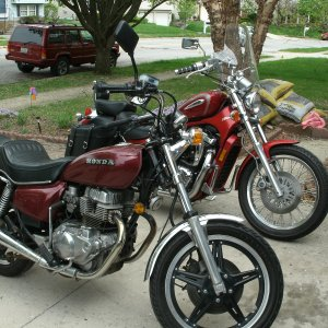 My '79 Honda CM400 (front) and my 2002 Intruder (back)