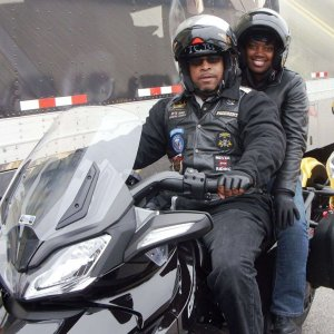 In Birmingham AL with Sylvia and I April 2013 test driving the Spyder 3 Wheeler